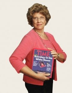 Astrologer Janet Booth with historic Time magazine issue: Astrology in the White House